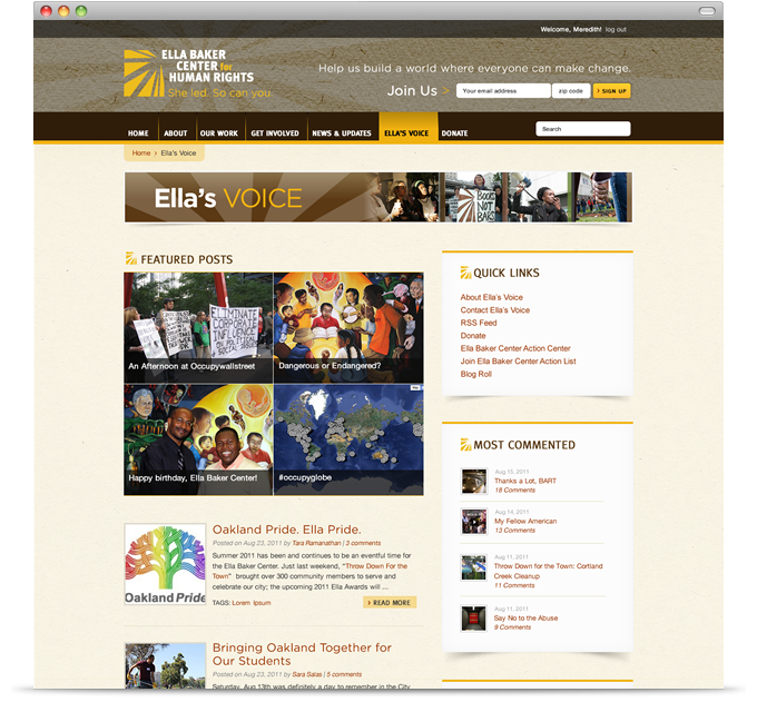 Ella Baker Center for Human Rights - Ella's Voice Blog main page
