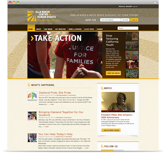 Ella Baker Center for Human Rights - homepage