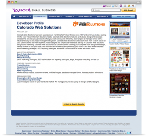 Yahoo! Small Business - ysbdevelopers.com developer profile page